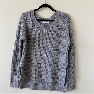 LUSH-Grey Chunky Wool Blend Pullover Sweater